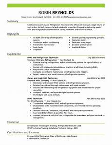 resume sles for hvac technician best hvac and refrigeration resume exle livecareer