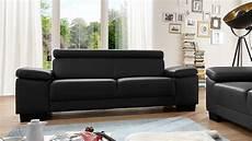 sofa garnitur sofa santiago garnitur in leder schwarz mit funktion