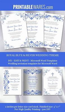 royal blue and silver wedding invitation templates for microsoft word printable and editable