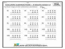 addition and subtraction worksheets 4 digit 9140 column subtraction 4 digits sheet 4 worksheet for 4th 5th grade lesson planet