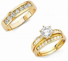 14k solid yellow italian gold trio wedding band bridal