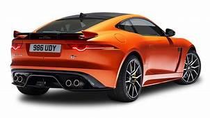 Orange Jaguar F Type SVR Coupe Back View Car PNG Image