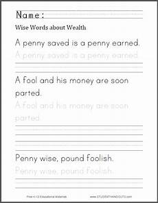 free printable handwriting worksheets for middle school students 21785 wise words about wealth handwriting worksheet student handouts