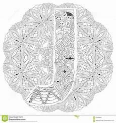 Mandala Malvorlagen Xl Mandala Met Brief J Voor Het Kleuren Vector Decoratieve