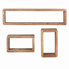 akazie massivholz 3er set wandregale cubes wall shelves