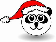 clipart panda black and white with santa