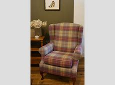 Blenheim wing back chair in Sanderson Highlands plaid #