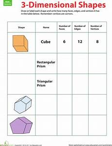 3 d shapes fill in the table geometry worksheets