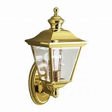 shop kichler bay shore 20 in h polished brass outdoor wall light at lowes com
