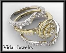 two tone gold halo diamond wedding ring bridal rings