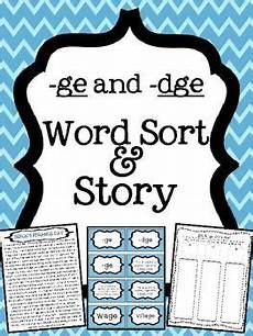 spelling worksheets dge and ge 22357 ge and dge word endings word sort and story word sorts ge words phonics activities
