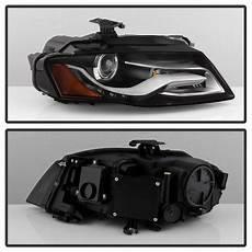 09 12 audi a4 s4 b8 halogen led drl projector headlights black