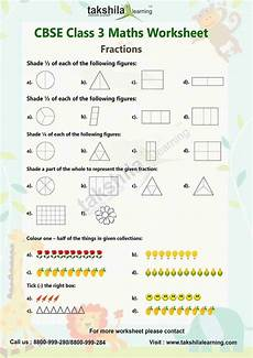 class 3 maths worksheets practice worksheet fraction for class 3 maths takshilalearning