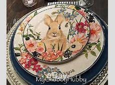 Nib Pottery Barn Set/12 Floral Bunny Dinner Plates Easter