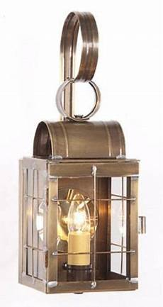 colonial entry lantern sconce weathered brass handcrafted