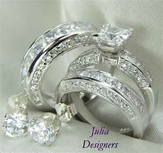 his her matching 3pcs engagement wedding ring set sterling silver size 4 13 189 ebay