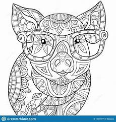 animal coloring pages for adults free 17296 coloring book page a pig image for relaxing zen style illustration stock vector