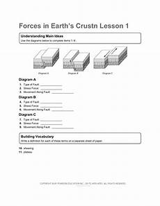 movement of the earth s crust worksheets 14432 chapter 7 worksheet packet