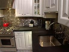 Metal Kitchen Backsplash How To Install Ceiling Tiles As A Backsplash Hgtv