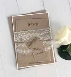 diy rustic wedding invitation kit eco kraft and rustic lace