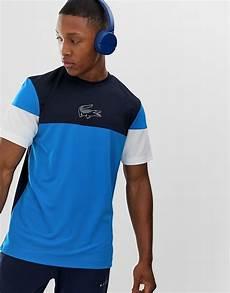 t shirt lacoste sport lacoste sport colour block t shirt in blue asos