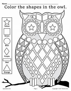color by number shapes worksheets 16248 free fall themed owl shapes worksheet coloring page supplyme