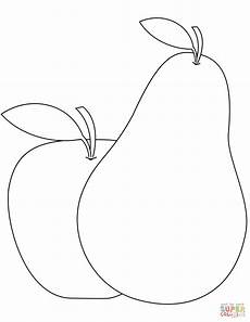 pear and apple coloring page free printable coloring pages