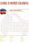 Have Fun With A Printable Cars 3 Word Search For Pixar