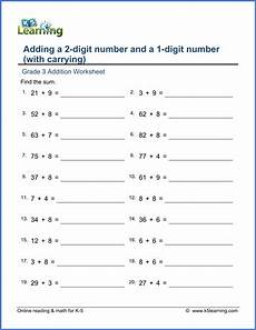 math estimation worksheets for grade 3 8285 grade 3 addition worksheets add 2 and 1 digit numbers with carrying k5 learning