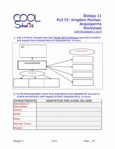 biology 11 plo f2 kingdom plantae angiosperms worksheet