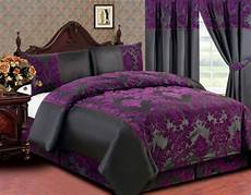 elegance 4pcs complete double bed duvet cover valance sheet pillow case black with purple