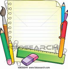 clipart of notepad blank page and stationery 1 k8635544 search clip art illustration murals