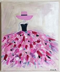 peinture femme moderne tableau moderne femme robe coloree tableau multicolore tableau femme peintures par