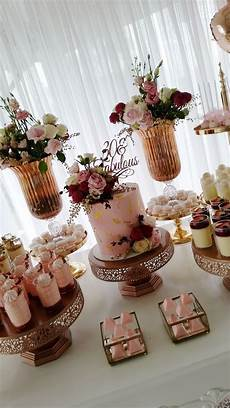 fabulous pink and gold 30th birthday dessert table