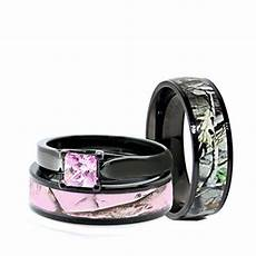 his and hers camo wedding rings black plated titanium and
