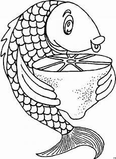 fisch mit zitrone ausmalbild malvorlage nahrung
