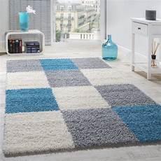Hochflor Teppich Grau - shaggy carpet high pile chequered white blue rug24
