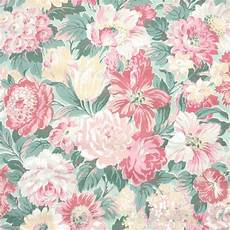 1950s Floral Vintage Wallpaper Dense Pink Green And Yellow