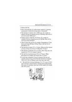 worksheet half life calculations teaching resources