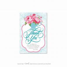 bridal shower thank you card customized printable diy teacup peonies lace thank you