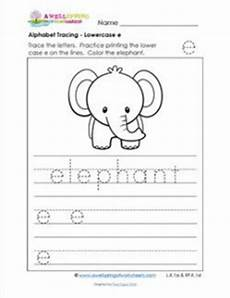 lowercase letter e worksheets 24621 alphabet tracing lowercase e with an elephant