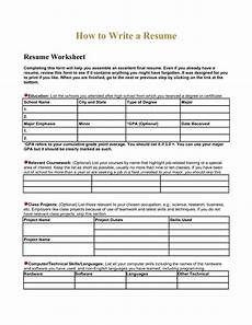 high school resume worksheet using your academic experiences to build a resume scientific