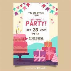 happy birthday invitation card template happy birthday invitation template vector free