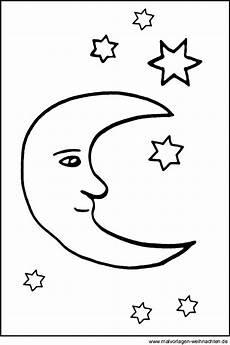 Ausmalbilder Sterne Und Mond Mond Und Sterne Als Kostenlose Malvorlage