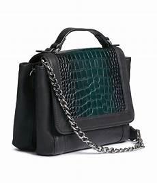 h m leather shoulder bag in black lyst