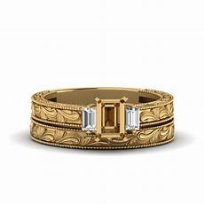emerald cut with baguette vintage wedding in 14k white