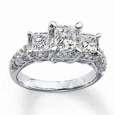 wedding ring three diamond 3 stone diamond ring 2 ct tw princess cut 14k white gold 990839401