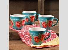 The Pioneer Woman Vintage Floral Teal 16 Ounce Mug Set