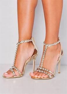 metallic bead detail high heels gold