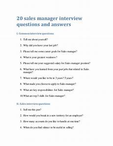 20 sales manager interview questions and answers
